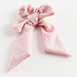 Pink/Red Gingham Hair Bow Scrunchie